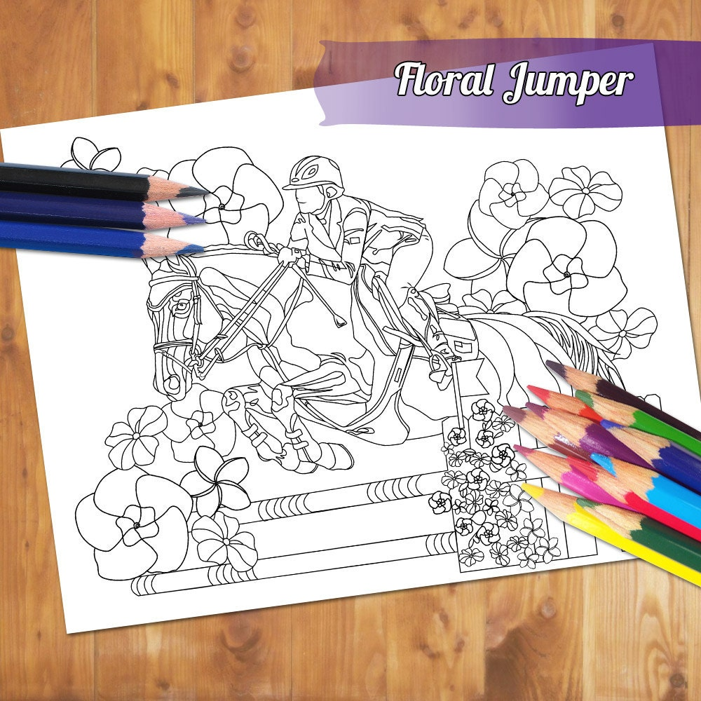 equestrian coloring page show jumping horse coloring