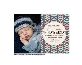 Blue Boy Girl Neutral Tribal Print Birth Announcement