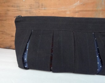 Upcycled Pleated Clutch from Men's suit and tie-Zipper Pouch-Clutch-Travel Bag-Cosmetic Bag-Navy-Upcycled Menswear