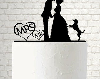 Wedding cake topper, Mr and Mrs Cake Topper with Dog A155