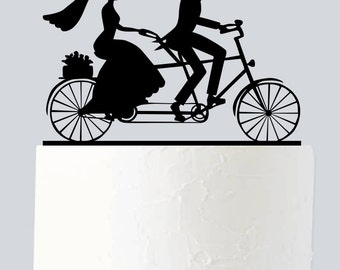 Bicycle Cake Topper, Cycle Cake Topper, Wedding Cake Topper, Couple Silhouette, Mr and Mrs, Acrylic Cake Topper A955