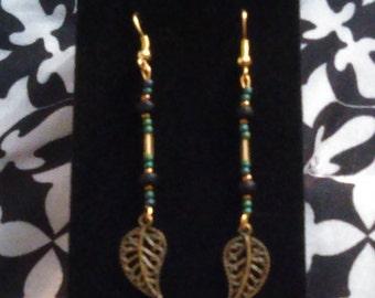 Metal Feather Drop Earrings