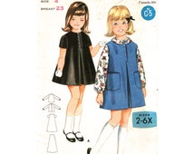 Girls Dress Jumper & Blouse Pattern Butterick 3230 Size 4 Button Front A-Line Dress Inverted Pleat Girls Vintage Sewing Pattern