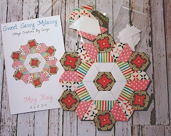 Sweet Sassy Molassy: English Paper Pieces/Piecing Kit/Fabric/Mug Rug