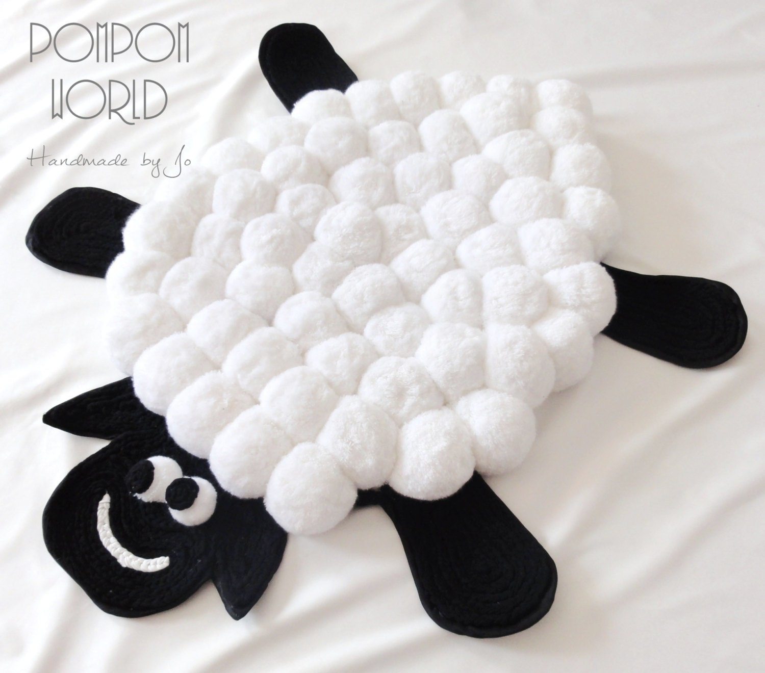 kids rug sheep pom pom rug pom pom sheep by pompommyworld. Black Bedroom Furniture Sets. Home Design Ideas