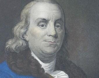 19th Century Hand-Colored Engraving ~ Benjamin Franklin