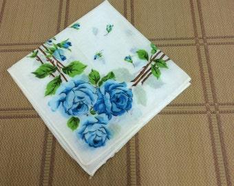 Vintage Blue Rose Hankie