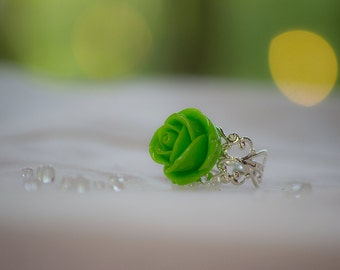 Lime Green Adjustable Ring