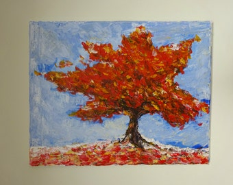 Modern Canvas Painting Tree Acrylic Art Landscape Abstract Original Textured Wall Decor Contemporary