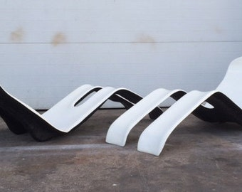 """Olivier Mourgue """"Bouloum"""" Vintage French Chaise Lounges"""