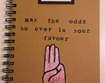 Handmade The Hunger Games inspired A5 customisable notebook gift present