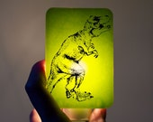Dinosaur Nightlight on Lime Green T-rex Tyrannosaurus Fused Glass Night Light - Gift for boy child kid - prehistoric jurassic dino