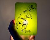 Dinosaur Nightlight on Lime Green T-rex Tyrannosaurus Fused Glass Night Light - Gift for boy child kid - prehistoric jurassic dino