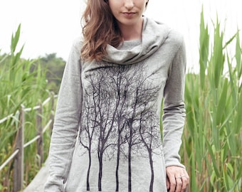 Fairytale Trees Cowl Neck Tunic in Light Grey
