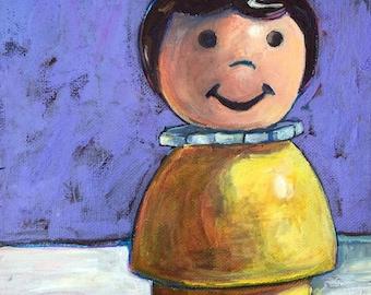 Fisher Price Girl. Original Painting. 8x10