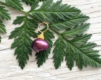 Wire wrapped bead dangle plum freshwater pearl with bali vermeil accents on 14k gold fill