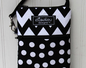 Black Chevron and Dot 2 Pocket Padded Gadget, iPhone6, iPhone 6 Plus, iPod, cellphone, Samsung Galaxy, Note, camera