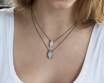 Druzy Necklace, Trend Jewelry, Druzy Jewelry, White Druzy Necklace, Gray Drusy Necklace, Oxidized Silver, Sparkly Necklace, Layering Jewelry