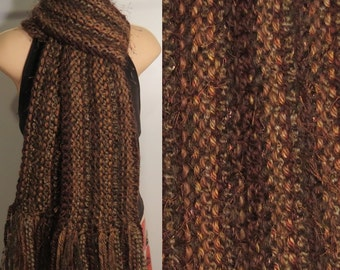 Hand Knit Gypsy Scarf Brown Camel Chocolate bohemian boho