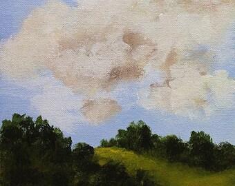 SALE--- Green Hills, Red Wildflowers, Original Painting, Original Art, Winjimir, Small Vertical Painting, Landscape Painting, Clouds,
