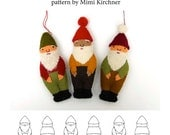 Gnome Elf Ornament pdf Pattern Tutorial Felt toy embroidery hand stitch