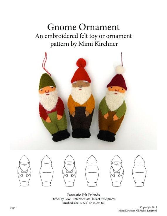 Gnome Elf Ornament pdf Pattern Tutorial Felt toy embroidery hand stitch
