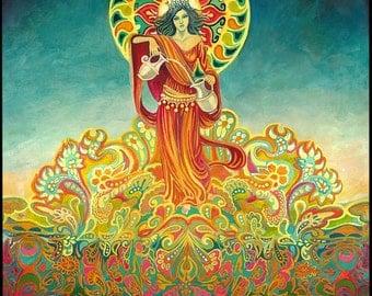 Temperance Tarot Goddess of Harmony Original Acrylic Painting Pagan Mythology Psychedelic Bohemian Gypsy Goddess Art