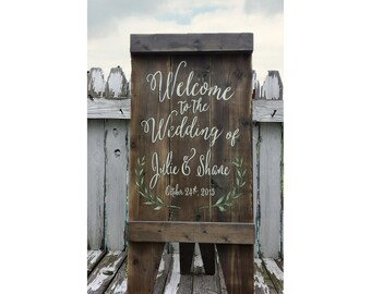 Custom Sign. Wedding Sign. Wedding Ceremony. Wedding Reception. Rustic Wedding. A Frame Sign. Aged Wood. Sandwich Board.