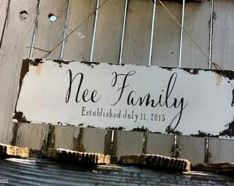 PERSONALIZED NAME SIGN, Shabby Chic Wedding Sign, Vintage Wedding Sign, Romantic Weddings, Established Sign, 24 X 7.5, Custom Name sign