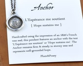 Hope Sustains Me - Victorian Whimsy Anchor Wax Seal Necklace - 270