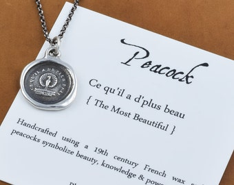Peacock Wax Seal Necklace - Peacock necklace symbolising Beauty, Power and Knowledge - 257
