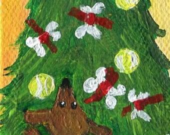 Christmas Dachshund painting dog wants bone on top of Christmas tree mini painting, 2 x 4 weiner dog holiday decor artwork, easel