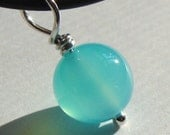 Sea Blue Chalcedony Pendant in Sterling Silver 10mm Round Aqua Chalcedony