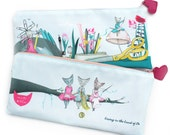 Cat Pencil Case - double sided illustrated craft pouch - back to school - kawaii cute cats living in the land of do