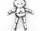 Stuffy Skeleton - black and white rag doll with fuzzy bones