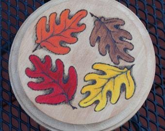 Wooden Autumn Oak Leaf Plaque