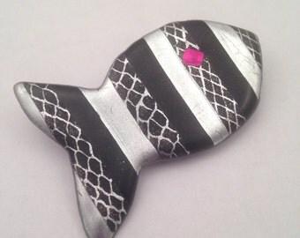 Whimsical fish pin, black, silver cobra fish brooch