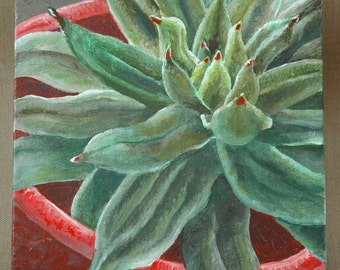 "Sempervivum Original Acrylic Painting 8"" x 10"""