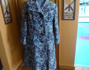 Vintage 60s Magenta Blue Tapestry Brocade Fitted Hippie Coat