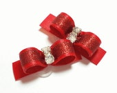 Red Dog Bows, Sparkly Glitter Dog Hair Bows with Rhinestones