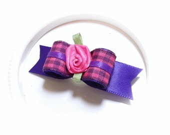 Gingham Dog Bow, Purple Gingham Dog Hair Bow with Flower