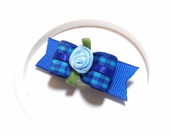Gingham Dog Bow, Blue Gingham Bow, Pet Hair Bows