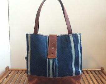 Last One! Ann Shoulder Bag- Indigo African Dogon Fabric
