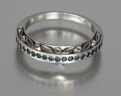 THE ENCHANTED sterling silver wedding band with London Blue Topazes
