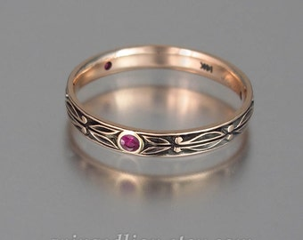 AUGUSTIN 14K rose gold band with Ruby accents unisex stackable ring