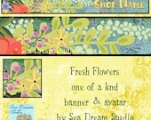 Fresh Flowers Etsy Shop Banner and Avatar by Sea Dream Studio one of a kind