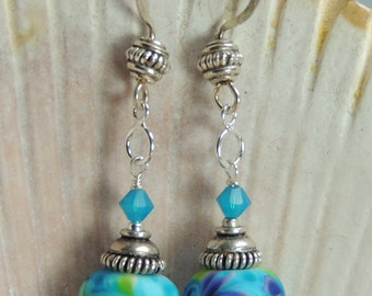 TRANQUIL Handmade Lampwork Bead Dangle Earrings