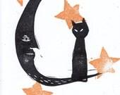 Hand Printed Halloween Moon and Black Cat Original Orange and Black Art Linocut Card