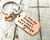 personalized keychain-dog tag keychain-mens keychain-couples keychain-anniversary -deployment -unisex key chain-i love you forever and ever