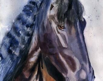 Original Friesian Morgan Warmblood Gelding  horse art watercolor Painting Equine Equestrian Black Brown Purple Portrait Decoration Decor